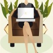Working Girl with Laptop - Stock Vector