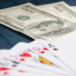 Dollars and Royal Flush — Stock Photo