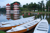 Twin Pagoda by the lake — Stock Photo