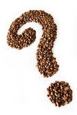 кофе вопросительный знак — Стоковое фото