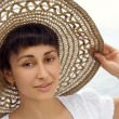 Close-up of the young girl in the bonnet — Stock Photo