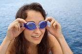 Young girl with swimming glasses — Stock Photo