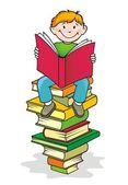Zurück zur schule. junge liest ein buch. — Stockfoto