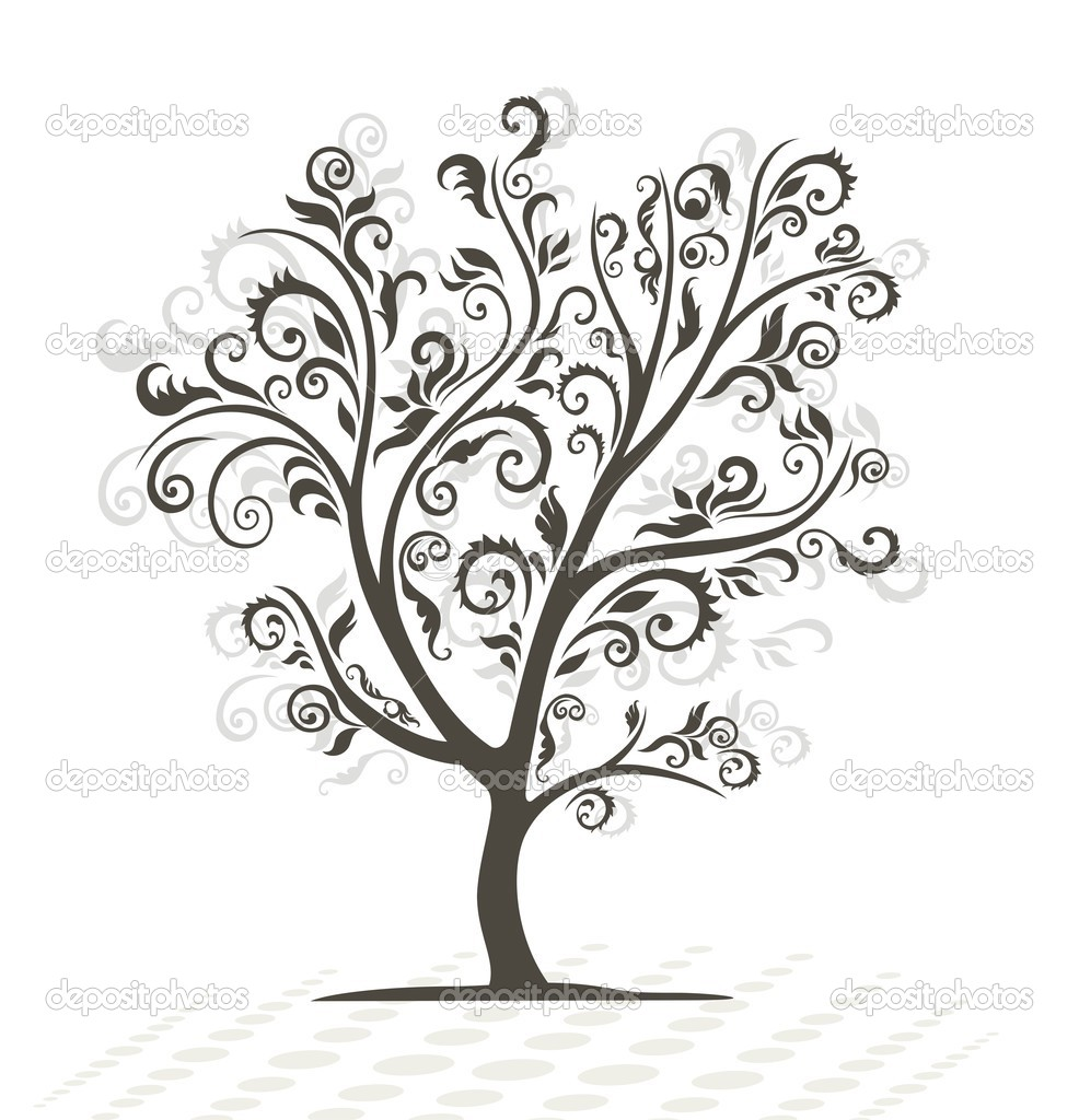 Decorative tree. Black silhouette.   Stock Photo #3426948