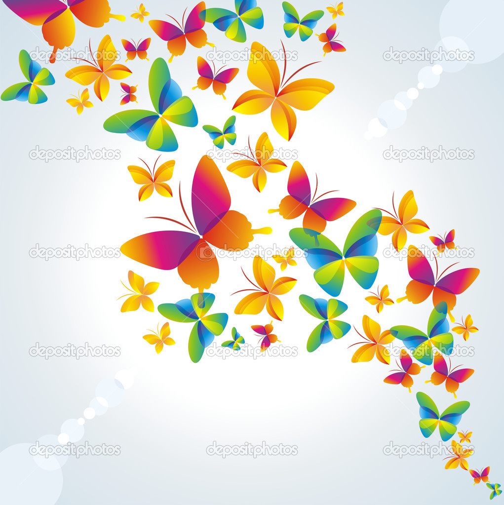  	Colorful background with butterfly.  Stock Vector #3546526