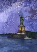 Watercolor of Statue of Liberty — Stock Photo