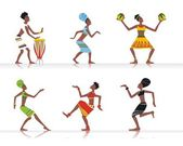Vector figures of african dancers and musicians — Stock Vector