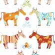 Royalty-Free Stock Imagem Vetorial: Cow set