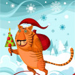 Stock Vector: Chrismas tiger