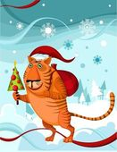Chrismas tiger — Stock Vector