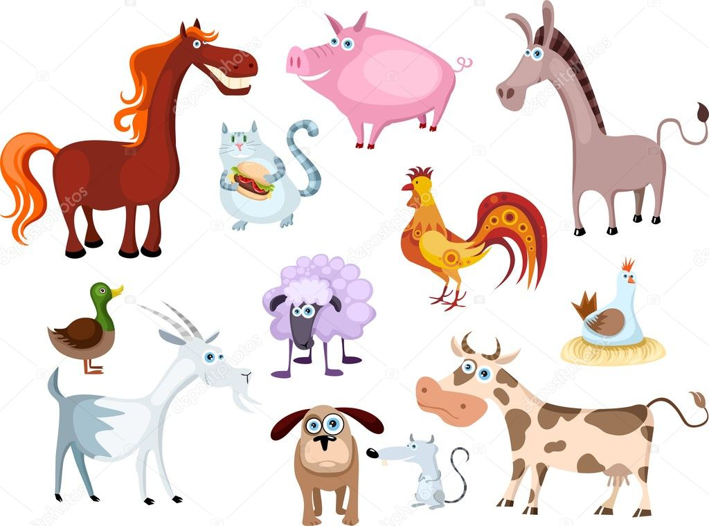 Vector illustration of a new farm animal set — Stock Vector #3499907