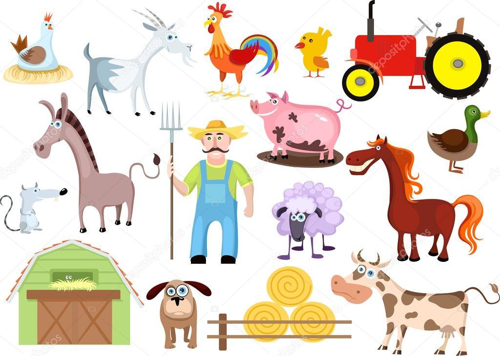 Vector illustration of a farm set  Stock vektor #3674216