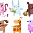 Cute animal set — Stock Vector