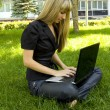 Girl on the nature of the laptop — Stock Photo