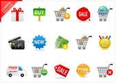 Zakupy online ikony — Zdjęcie stockowe