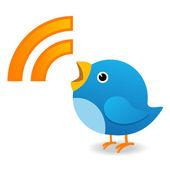 Twitter 的鸟大喊 — 图库照片