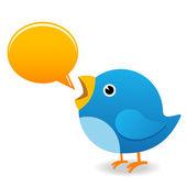 Twitter, ptak na czacie — Zdjęcie stockowe