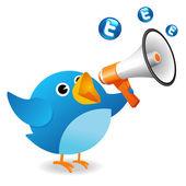Pássaro twitter anunciar — Foto Stock