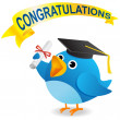 Twitter bird Graduate — Stock Photo