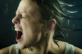 Young adult girl scream — Stock Photo