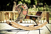 Horse old toy,caballo columpio — Stock Photo