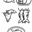 Stock Vector: Fish food symbols