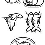 Fish food symbols — Stock Vector