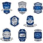 Set of vintage silver labels — Stock Vector