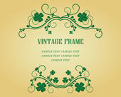 Vintage frame with clover — Stock Vector