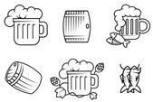 Beer and alcohol symbols — Stock Vector