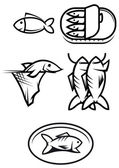 Fish food symbols — Stock Vector