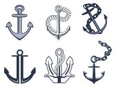Set of anchor symbols — Stock Vector