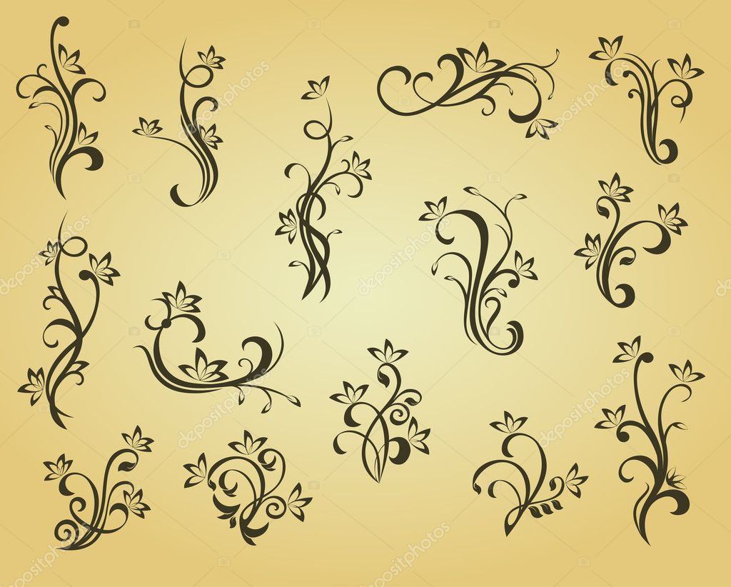 Set of vintage decorations in victorian style for ornate and design  — Stock Vector #3386120