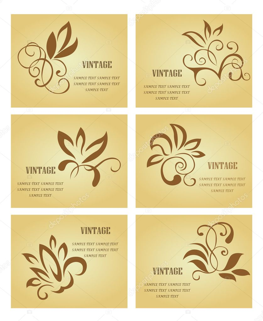Set of businrss cards in vintage style for design — Stock Vector #3386122