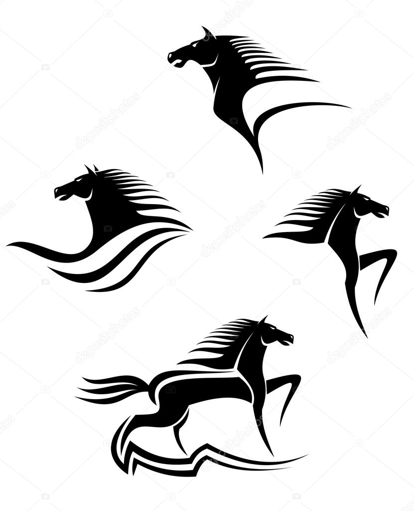 Set of black horses symbols for design isolated on white — Stock Vector #3386139