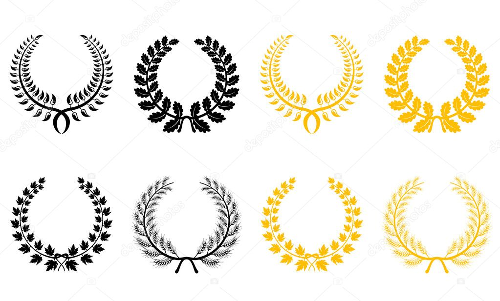 Set of gold and black laurel wreaths — Stock Vector #3386227