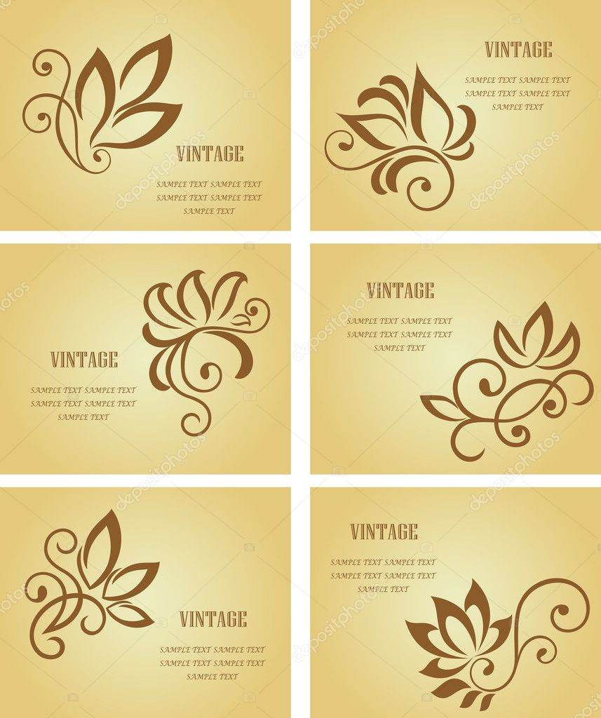 Set of business cards in vintage style for design — Stock Vector #3386698
