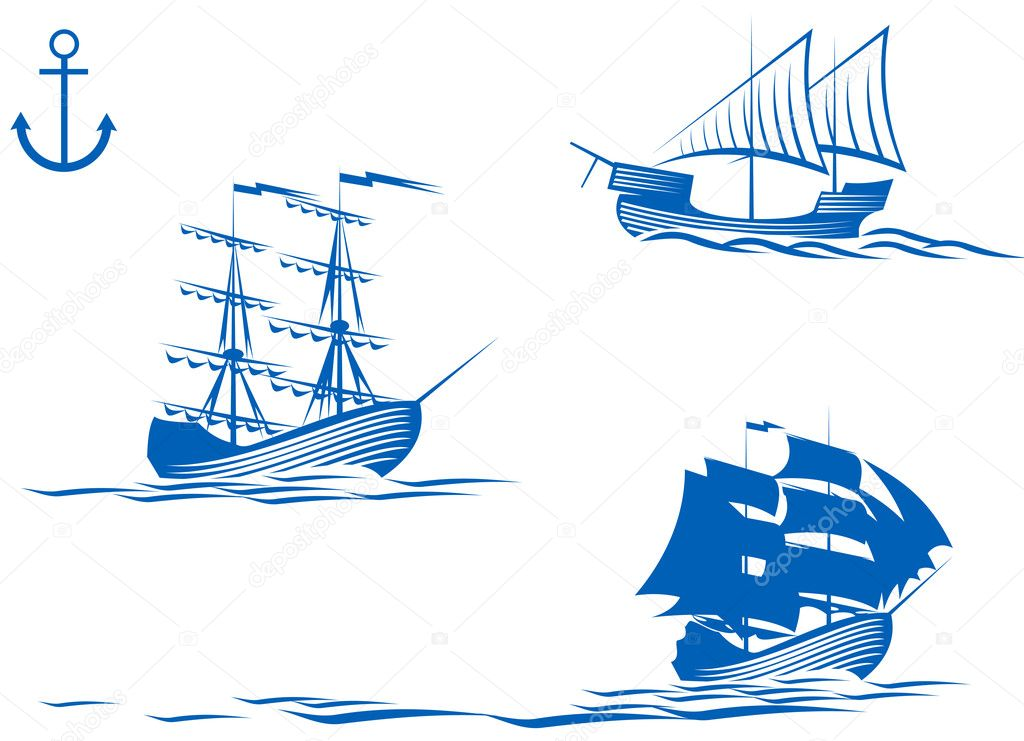 Set of sail ships isolated on white for design — Stock Vector #3386732