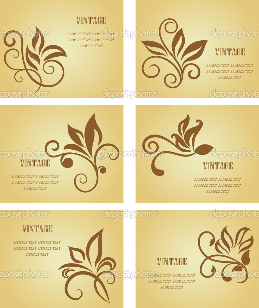 Set of business cards in vintage style for design  Stock Vector #3386733