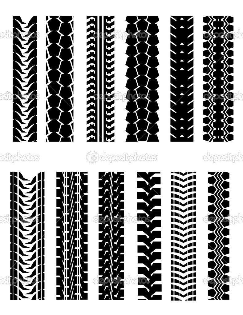 Set of tire shapes isolated on white for design — Stock Vector #3514924
