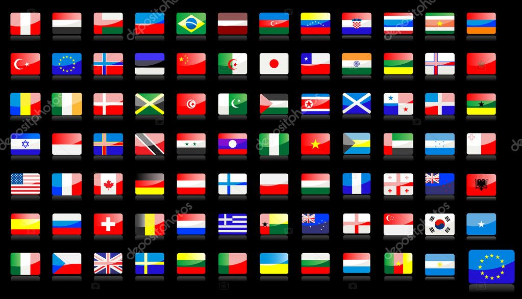 Big set of national flag icons in glossy style — Vettoriali Stock  #3623294