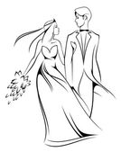 Bride and groom — Stockvector