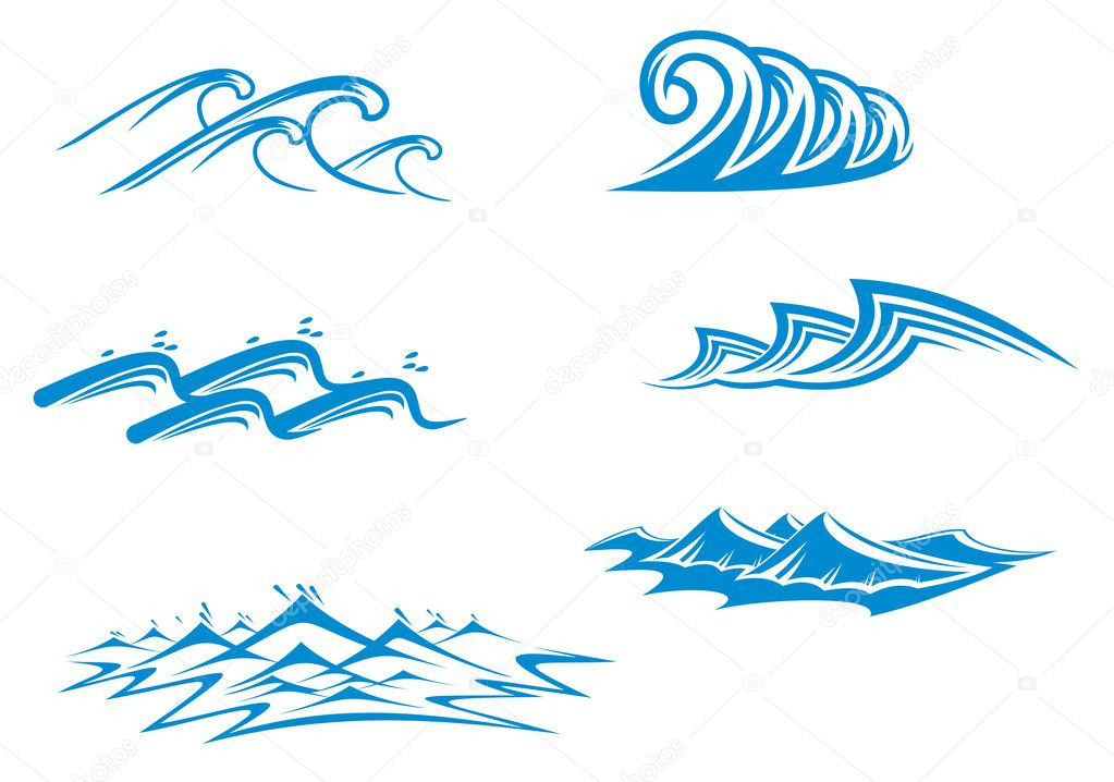 Set of wave symbols for design isolated on white — Stock Vector #3708712