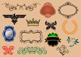 Set of royal heraldic elements — Stock Vector