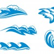 Stock Vector: Set of wave symbols