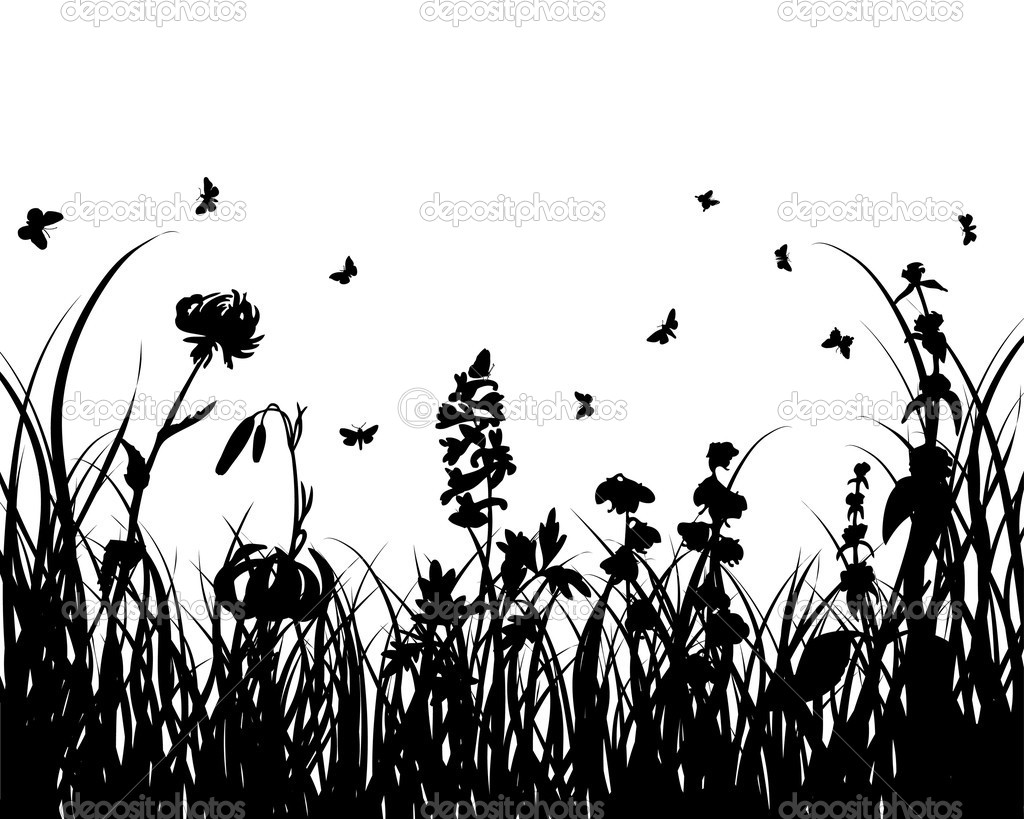 Vector grass silhouettes background for design use  Stock Vector #3387271