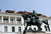 Sculpture of raider on the horse. Venice. — Stock Photo