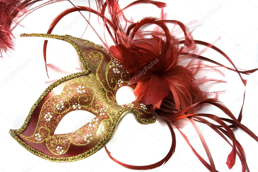 Venetian mask red with gold, isolated on white — Stock Photo #3419242
