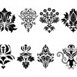 Damask emblem set — Stockvectorbeeld