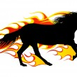 Stock Vector: Flame horses